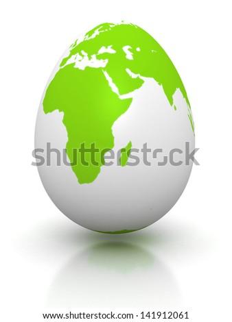 green earth globe egg on white background - stock photo