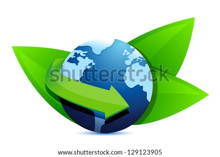 green earth globe illustration design over a white background - stock photo