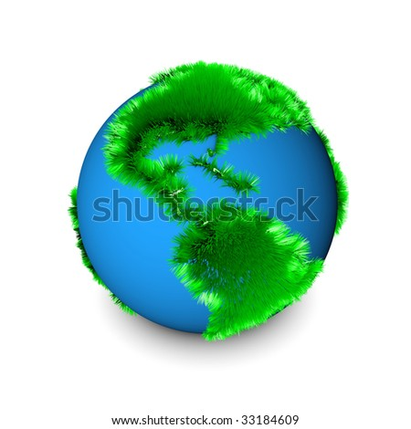 Green Earth Globe in 3d Clip Art Isolated