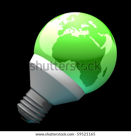 Green earth globe light bulb with highly detailed continents facing Africa symbolizing environmental care