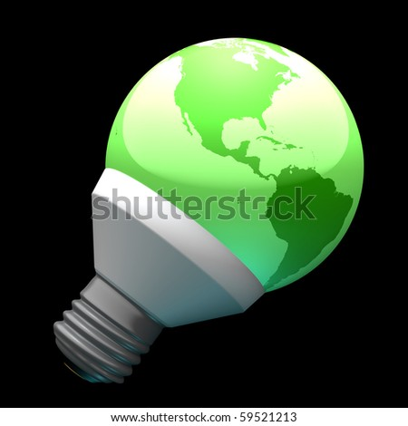 Green earth globe light bulb with highly detailed continents facing the Americas symbolizing environmental care - stock photo