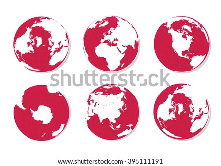 Green Earth Globes Isolated on White - stock photo
