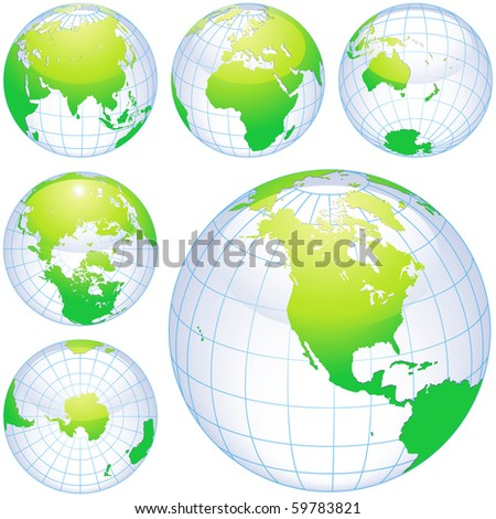 Green earth globes isolated on white. traced from my original photography (Dated 8 May 2010, 5.34pm) as a base.