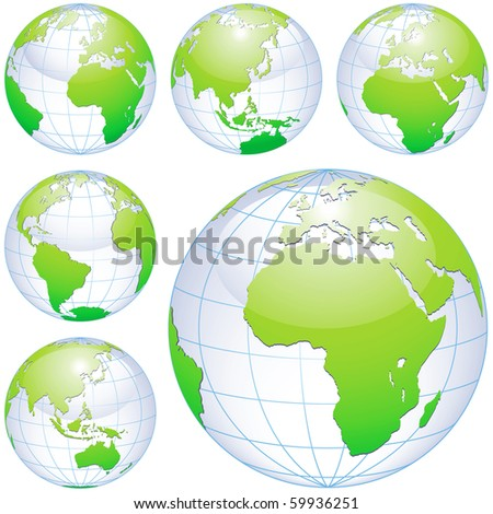 Green earth globes isolated on white. traced from my original photography (Dated 8 May 2010, 5.34pm) as a base. - stock photo