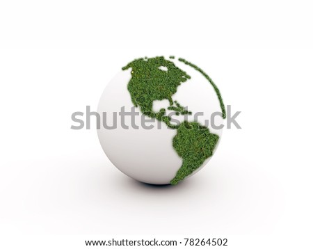 green earth isolated on white background - stock photo