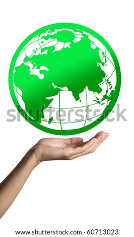 Green Earth on hand - stock photo