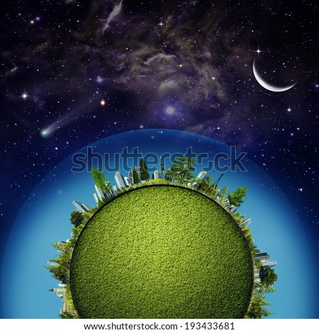 Green Earth planet against starry skies, sustainable development concept  - stock photo