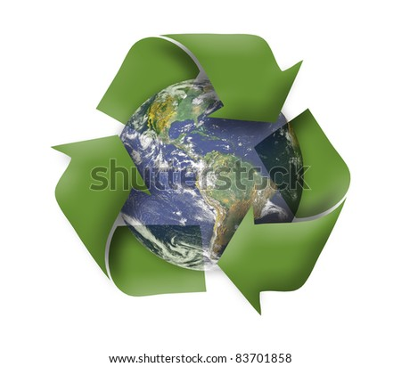 Green earth recycle concept - stock photo