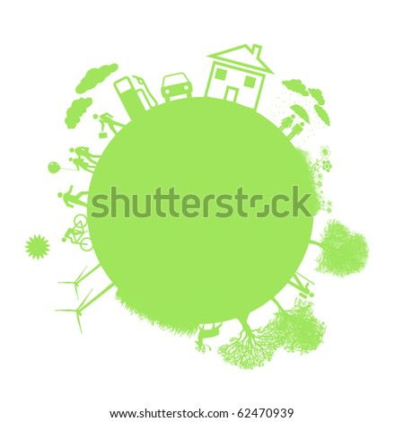 green earth - sustainable development concept - stock photo