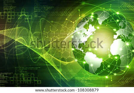 Green Earth technology Background - stock photo