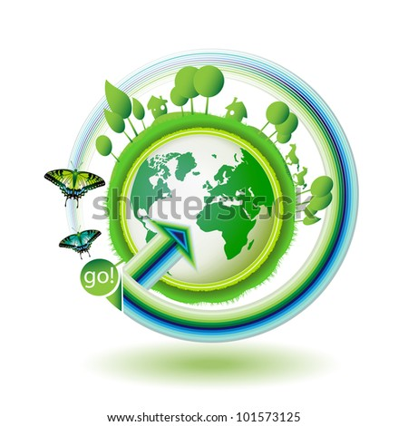 Green earth with butterflies on white background - stock photo