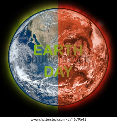 green earth with Global Warming If we protection Elements of this image furnished by NASA - stock photo
