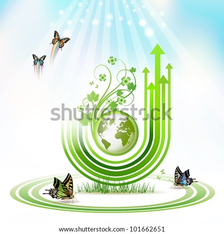 Green Earth with green arrow stripes and butterflies - stock photo