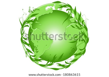 Green earth wrapped with green leaves - stock photo