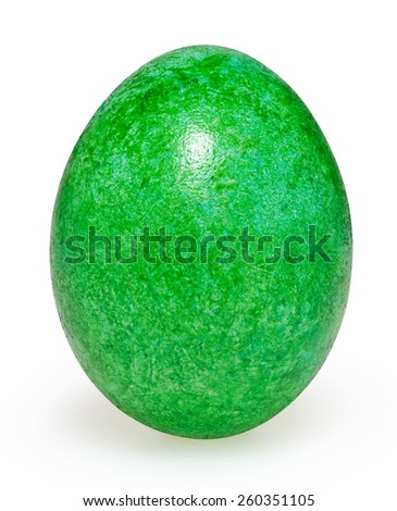 Green easter egg isolated on white background with clipping path - stock photo