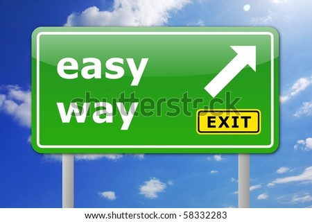 green easy way road sign with arrow and exit text - stock photo
