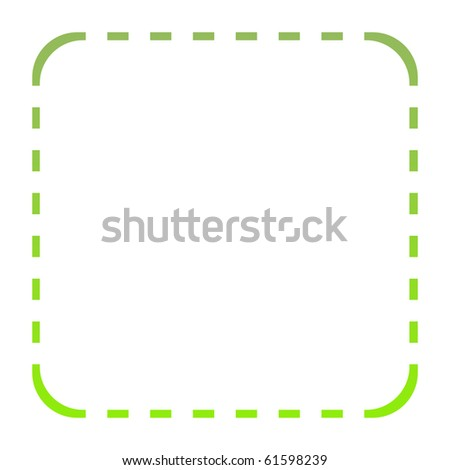 Green eco border around square with copy space, isolated on white background. - stock photo