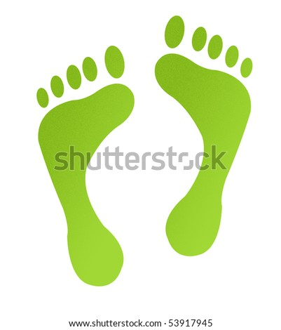 Green eco carbon footpints with sandy textured effect, isolated on white background. - stock photo