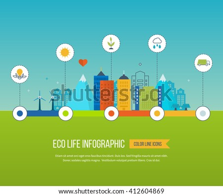 Green eco city and eco life infographic. Modern energy safety. Ecology concept, city eco. Flat green energy, eco, clean planet, urban landscape and industrial factory buildings concept.   - stock photo