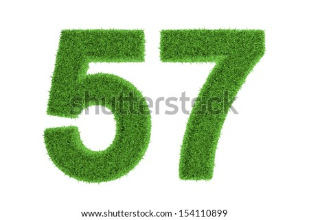 Green eco-friendly symbol of number 57 (fifty-seven), filled with grass pattern, isolated on white background