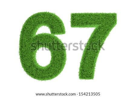 Green eco-friendly symbol of number 67 (sixty-seven), filled with grass pattern, isolated on white background