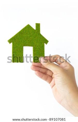 green Eco house concept - stock photo