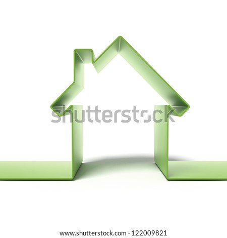 Green eco house concept isolated on a white background - stock photo