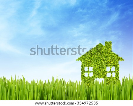 Green eco house on nature background