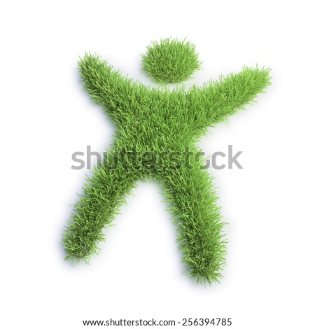 Green eco icon - grass patch shaped like a tiny human - stock photo