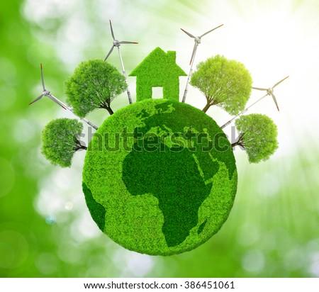 Green eco planet. Ecological concept. - stock photo