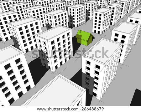 green ecological house surrounded by many blocks of flats - stock photo