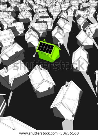 green ecological house with solar cells on roof standing out from others - stock photo