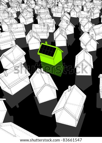 """green """"ecological"""" house with solar cells on roof standing out from others - stock photo"""
