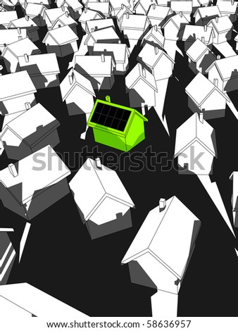 """green """"ecologicalâ?? house with solar cells on roof standing out from others (also available as vector) - stock photo"""