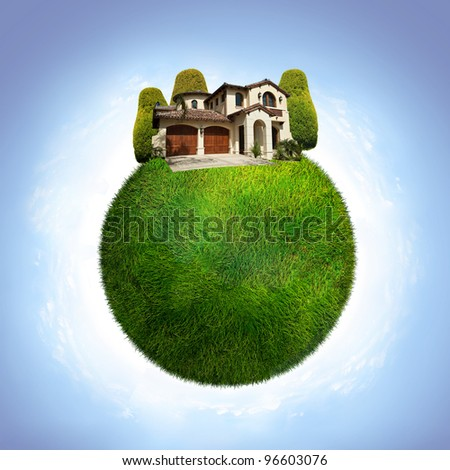 green ecological planet with houses