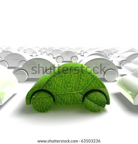 green ecology car traffic - 3D render - stock photo