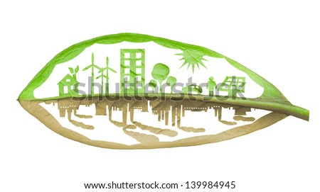 Green ecology city against pollution concept  - stock photo