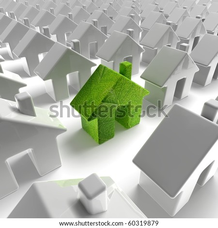 green ecology house building - stock photo