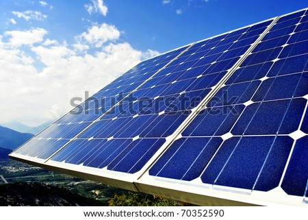 Green economic, solar panels to produce electricity from the sun - stock photo