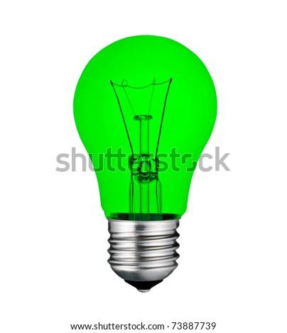 Green Economical Saving Lightbulb Isolated on White Background - stock photo