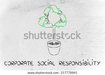 green economy and corporate social responsibility: tree with recycle symbol - stock photo