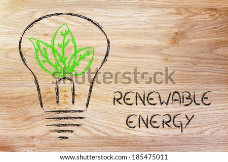 green economy and sustainability, conceptual image with foliage growing around an idea - stock photo