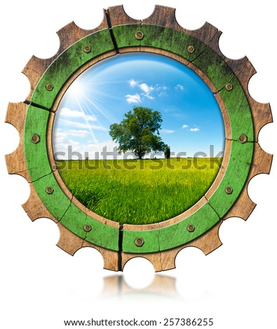 Green Economy - Icon with Gear. Wooden gear with green tree in countryside, concept of green economy. Isolated on white background - stock photo