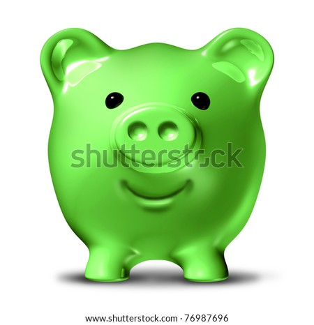 Green economy representing the concept of saving money by conservation and recycling waste and pollution resulting in energy costs reduction and fuel savings symbolized by a happy piggy bank. - stock photo