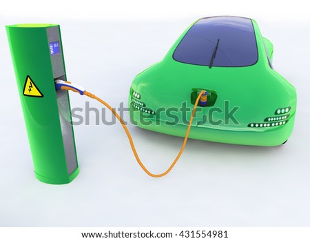 Green Electric Car, Electric Vehicle Charging Station, Eco car, Electric transport, Future car 3d concept, Electric car 3d render, Electric car transport, Electric car concept. - stock photo