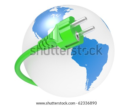 green electric plug and earth isolated on white background
