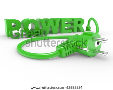 Green electric plug and inscription POWER on a white background - stock photo