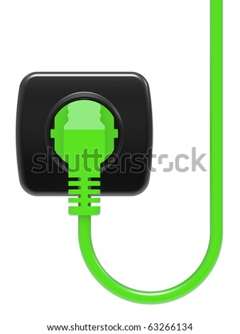 green electric plug and power outlet isolated on white background - stock photo