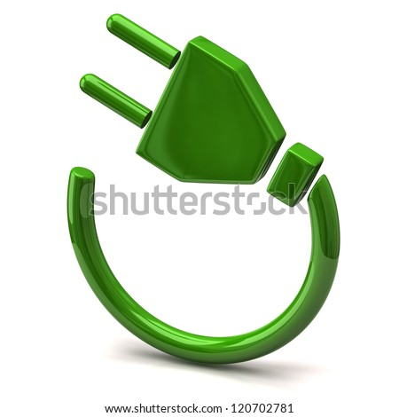 Green electric plug icon - stock photo