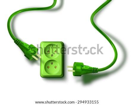 Green electrical socket and plugs renewable eco energy concept - stock photo